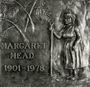The Margaret Mead Award - A Plaque Depicting Margaret Mead with a Walking Stick