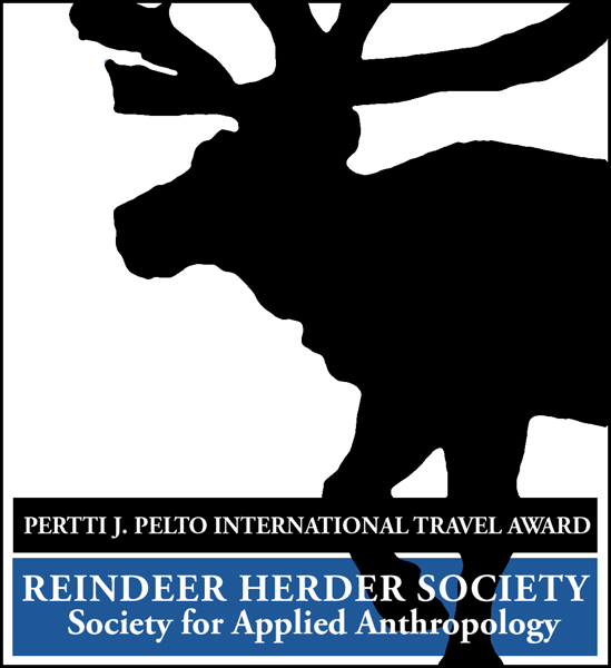 "The Pertti J. Pelto Award - A Silhouette of a Reindeer and a banner reading ""Reindeer Herder Society"""